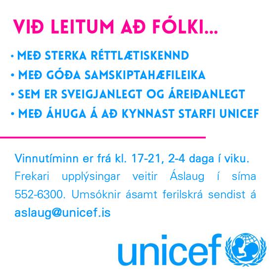 Sumarstarf hjá UNICEF á Íslandi
