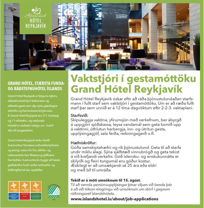 Vaktstjóri í gestamóttöku Grand Hótel Reykjavík