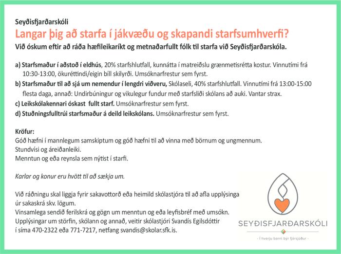 Seyðisfjarðarskóli auglýsir lausar stöður