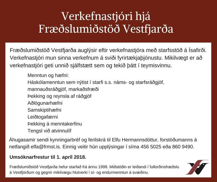 Verkefnastjóri hjá Fræðslumiðstöð Vestfjarða