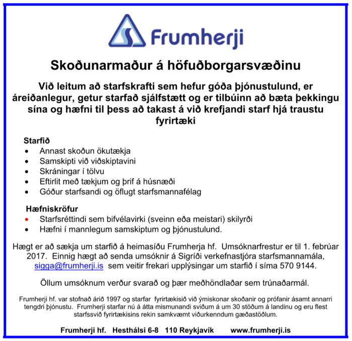 Skoðunarmaður á höfuðborgarsvæðinu